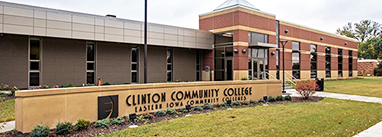 Clinton Community College, front of the builing with signage