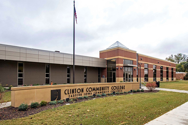 Clinton Community College building and sign