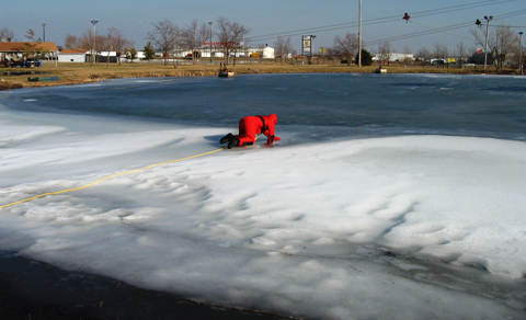 Photo of ice rescue training