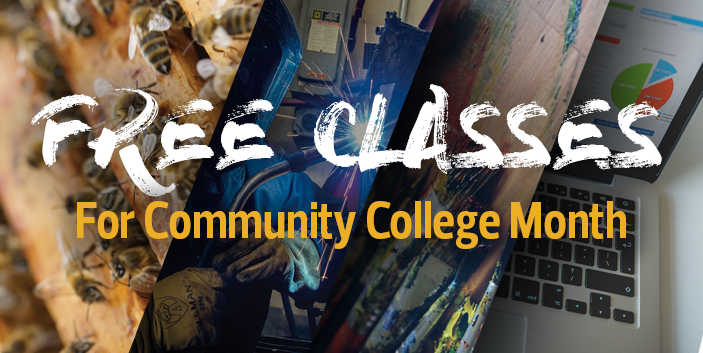 Free Classes for Community College Month, link goes to more information and free class listing