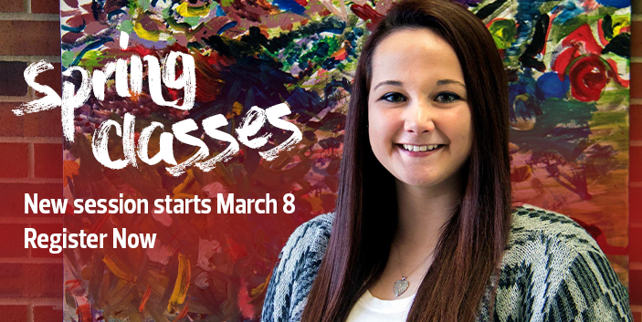 Spring Classes, new session starts March 22, register now, link goes to more information
